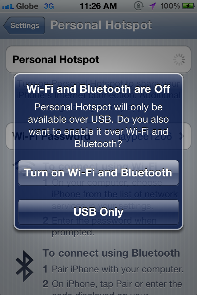 how to create hotspot on iphone 4s