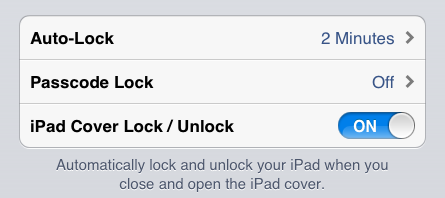 iPad Cover Lock/Unlock option (Settings  General)