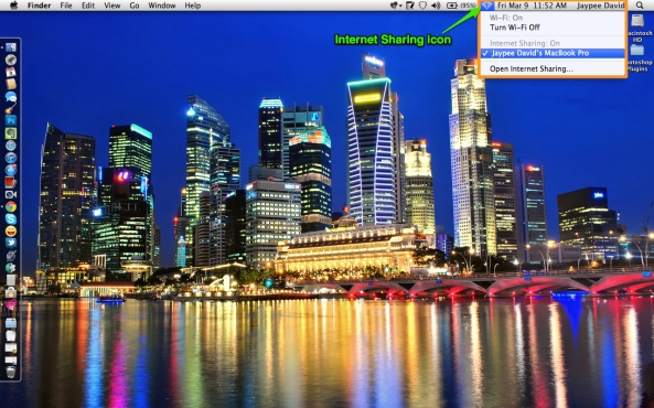 Internet Sharing on Mac using Personal Hotspot iPhone 4S USB