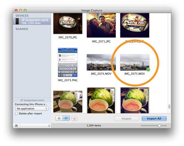 Import photos from iPhone to Mac using Image Capture